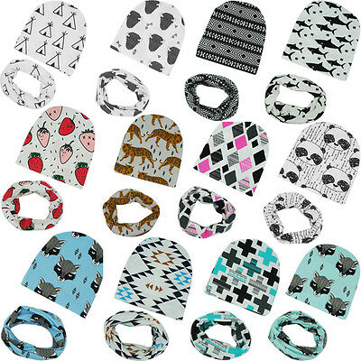 Newborn Baby Kids Boy Girl Cotton Hat Beanie Cap+Snood Scarf Neckerchief 2PCS UK