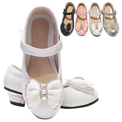 Girls Sandals Children Kids Wedding Bridesmaid Party Low Heels Shoes Size 7-3