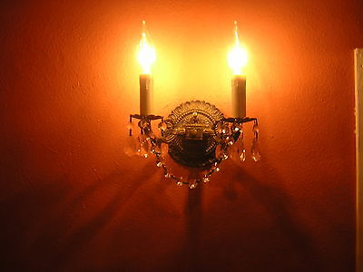Antique Bronze and Crystal 2 Light Wall Sconce Chandelier