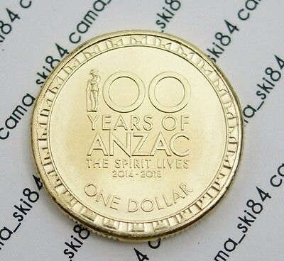 2016 Australian $1 (one dollar) 100 Years Anzac Coin from Mint Bag  UNC