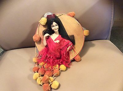 Antique Spanish Flamenco Dancer Boudoir Bed Doll Head Tambourine In Orig. Outfit