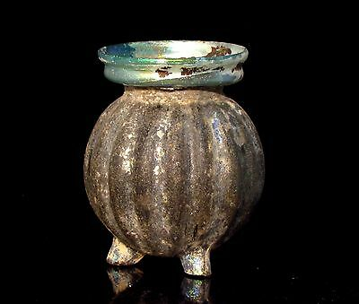 Stunning Roman Glass Jar with black  patina