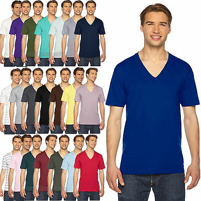 American Apparel V Neck T Shirt - Tee Shirt Short Sleeve Cotton Jersey - 2456W