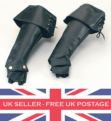 Pirate Boot Tops Covers Deluxe Black Leather Jack Sparrow / Santa Fancy Dress