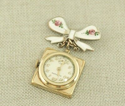 Gold pl. Enamelled ART DECO Ladies Antique brooch Pocket Watch Uhr wristwatch