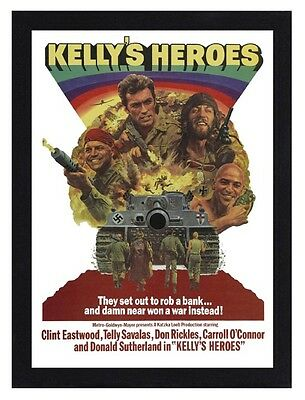 Framed Kellys Heroes War Movie Poster A4 Size Mounted In Black Or White Frame