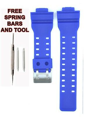 Compatible Casio G SHOCK Ga100 29mm Blue Rubber Watch Strap CAS113