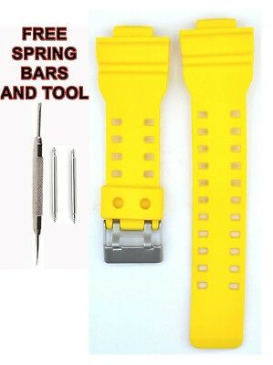 Compatible Casio G SHOCK Ga100 29mm Yellow Rubber Watch Strap CAS114