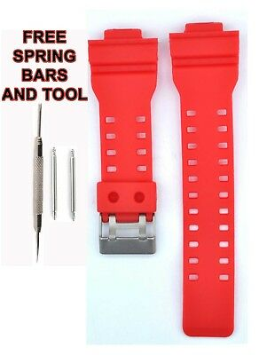Compatible Casio G SHOCK Ga100 29mm Red Rubber Watch Strap CAS115