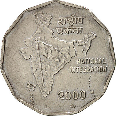 [#450153] INDIA-REPUBLIC, 2 Rupees, 2000, AU(50-53), Copper-nickel, KM:121.3