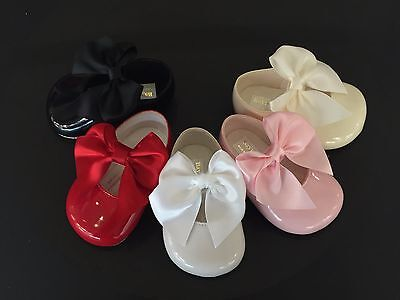 Gorgeous Baby Girl Big Bow Patent Pram Shoes/Soft material/Satin Bow/Size 0123
