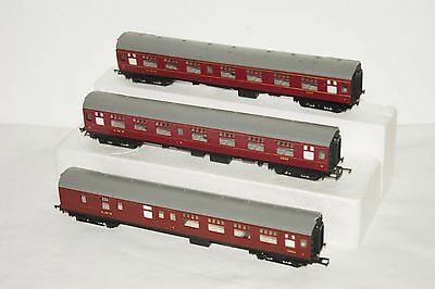 OO gauge GOOD USED 3x Hornby Triang LMS Maroon Coach 2257 3rd Class 5051 Brake