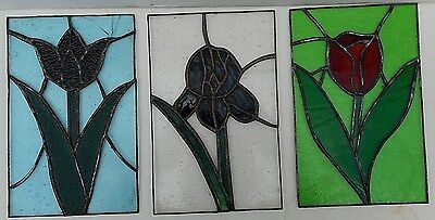 "Spring Flowers Tulip Leaded stained glass window Red Blue Green Violet 7"" X 11"""