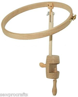 Elbesee Table Clamp Stand with 25cm (10in.) Wooden Embroidery Hoop Embroidery