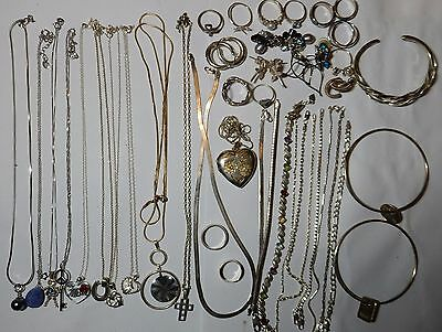 925 Sterling silver jewelry lot not scrap 200G  Vintage estate #4
