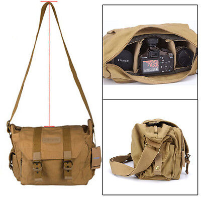 Vintage Canvas Digital Camera Messenger Shoulder Bag for DSLR SLR Canon Nikon