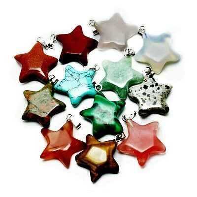 Natural Stone Star Pendant  Necklace Various Colours