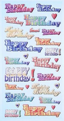 Happy Birthday Geburtstag * Softy Design Sticker * Aufkleber Scrapbooking