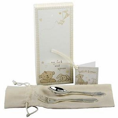 Button Corner Silverplated Baby Fork & Spoon Set