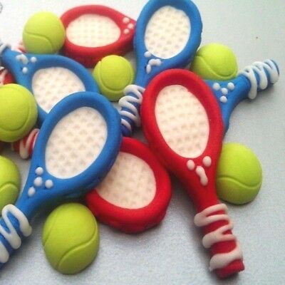 8 Edible sugar rackets 8 Tennis Balls Decorations Cakes Cupcakes Toppers