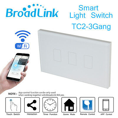 Broadlink 3 Gang Wireless Panel Smart Touch Wall Control Light WIFI New Switch