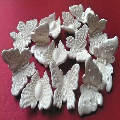 12 edible sugar butterflies cake cupcake toppers decorations White with pearl