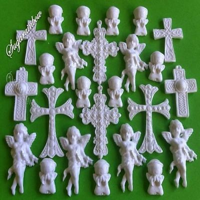 21 Edible sugar crosses angels christening communion cake topper decorations