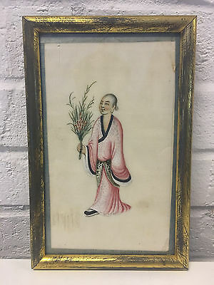 Antique Chinese Pith Rice Paper Painting of a Woman Holding Flowers