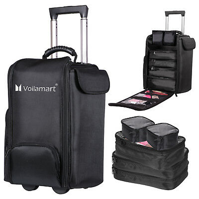 Rolling Makeup Trolley Case Cosmetic Beauty Artist Bag Storage Organizer 6 in 1