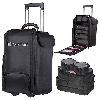 Trolley Makeup Case Beauty Rolling Cosmetic Salon Storage Organizer Bag 6 in 1