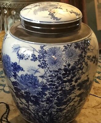 Antique Chinese Porcelain Blue White Hand Painted Jar
