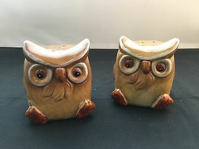Brown Owls Ceramic Salt and Pepper Shakers - NEW