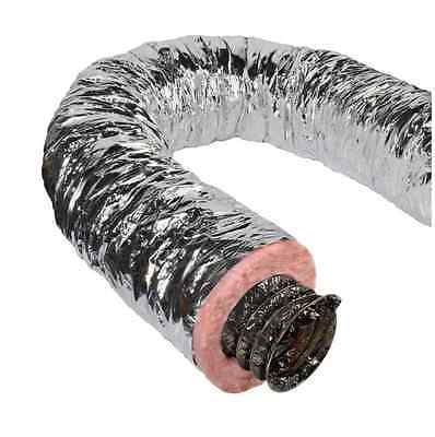 Insulated Flexible Duct R6 14 in x 25 ft Silver Jacket Fiberglass HVAC Pipe Vent