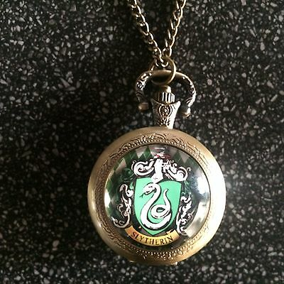 Harry Potter Sytherin Crest Quartz Watch Necklace Or Fob Watch