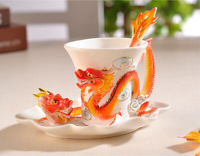 Porcelain Red New Dragon Coffee Set/ Tea Cup Saucer Spoon Holiday Gift