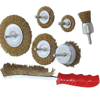 Wire Brush Kit Metal Rust Removal Wheel Brass Cleaning Tools Grill Steel Remover