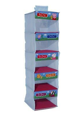 Peppa Pig Wardrobe Organiser Hanging Storage 5 Shelves