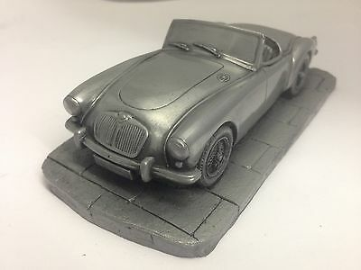 MGA 1600 MK1 Pewter Effect 1.32 Scale Model Car Made In Sheffield