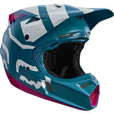 Fox 2017 Casco Helmet V3 Creo Blu Bianco Rosa Blue Moto Cross Enduro Mtb Tg Xl