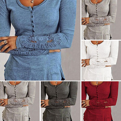 Women's Fashion Casual Long Sleeve Shirt Loose Blouse Ladies Lace Casual Tops