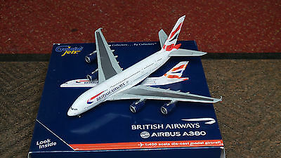 British Airways Airbus A380 1:400 scale model used with marks on wings GJBAW1234