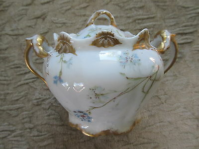 Antique Floral Blue & White Theodore Haviland Limoges Sugar Bowl
