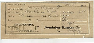 Old 1921 Dominion Express Co Receipt