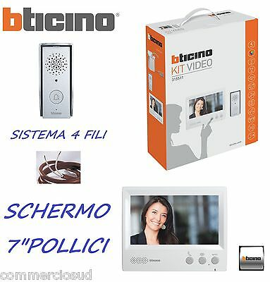 "Kit Videocitofono Bticino Monofamiliare Espanbibile Audio Video A Colori 7"" Led"