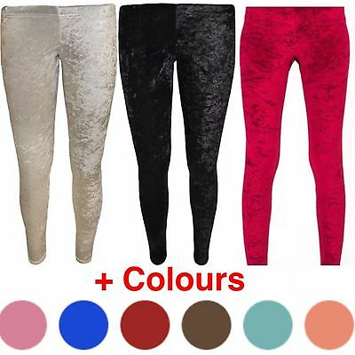 Girls Children Kids Crushed Velvet Leggings Thick Full Length Stretchy Soft Warm