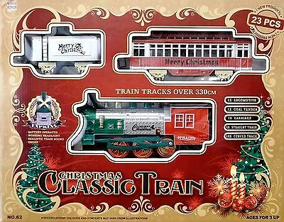 Classic Christmas Train Set 23 Piece With Real Smoke Sounds & Headlight Gift Fun