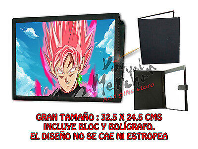 CARPETA SUPER SAIYAJIN ROSE PINK DRAGON BALL LONETA NEGRA FOLDER bloc es