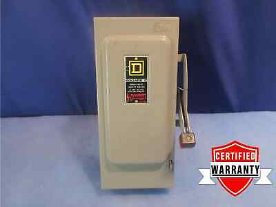 Square D HU361 Safety Switch 30 amp 600 vac non-fused 3 phase 1 year warranty