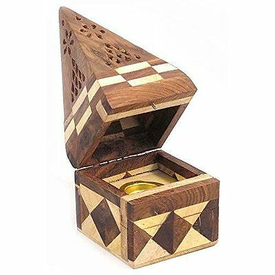 Wooden Pyramid Temple Incense Joss Sticks Cones Holder Burner Ash Catcher IF172
