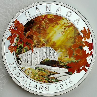 Canada 2016 $20 Autumn Tranquillity 1 oz, 99.99% Pure Silver Color Proof Coin
